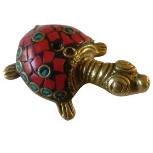 🇨🇦 Vintage brass hand made turtle figurine